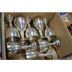 BOX OF PEWTER CHALICES