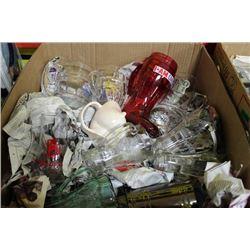 BOX OF BEER MUGS, COCA-COLA GLASSES ETC