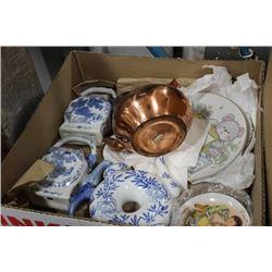 BOX W /BLUE & WHITE CERAMIC DECANTERS & 3 PLATES