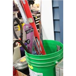 PAIL OF ASSORTED TOOLS INCLUDES CROWBARS, LEVELS,