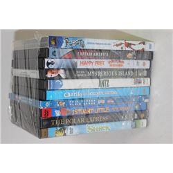 BUNDLE OF (10) KIDS DVD MOVIES