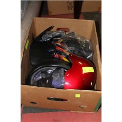 BOX WITH 3 BICYCLE HELMETS & INSERTS
