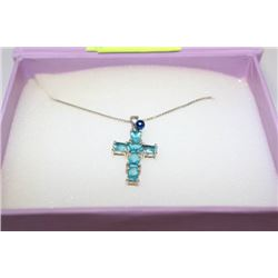 .925 SILVER CHAIN WITH .925 SILVER CROSS WITH BLUE