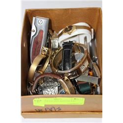 BOX OF WATCHES, KNIVES, ETC.