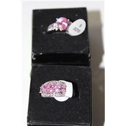.925 SILVER AND PINK LAB TOPAZ RING X2