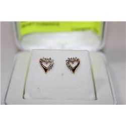 PAIR OF 14K GOLD AND DIAMOND HEART EARRINGS