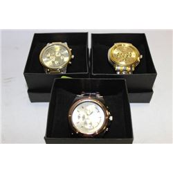 NEW MENS STAINLESS STEEL WATCH X 3