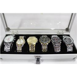ALUMINUM CARRY CASE WITH 6 NEW MENS STAINLESS