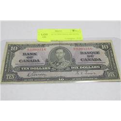 1937 GEORGE VI TEN DOLLAR NOTE