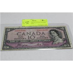 SCARCE 1954 DEVIL'S FACE IN HAIR 10 DOLLAR NOTE