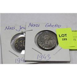 TWO NAZI JEWISH GHETTO COINS 1942-43