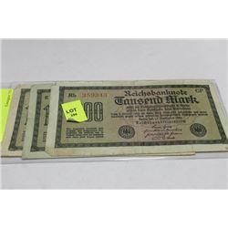 THREE GERMAN 1000 MARK 1922 BANKNOTES