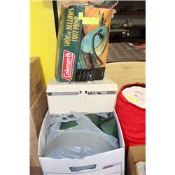 BOX OF MISC CAMPING ITEMS