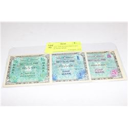 SET THREE 1944 ALLIED MILITARY GERMAN NOTE WWII