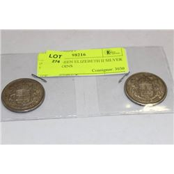 1956-57  QUEEN ELIZEBETH II SILVER 50 CENT COINS