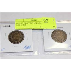 1902-03 EDWARD VII SILVER 25 CENT COINS X2