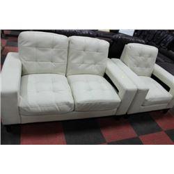 WHITE LEATHERETTE DESIGNER LOVE SEAT W CHAIR