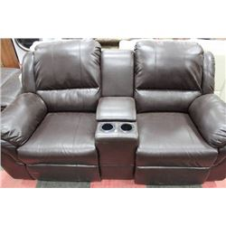 BROWN LEATHER CONSOLE LOVE SEAT