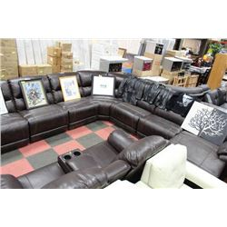 LARGE 7 PC ELECTRIC RECLINING BROWN LEATHER