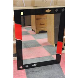 BLACK AND RED BATHROOM MIRROR