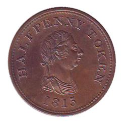 Breton # 891, Charlton # NS-14A5 1815 Halfpenny, Payable by John Alexander Barry, Halifax CCCS MS-63