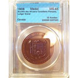 Medal; Société des Artisans Canadiens Français, Ludger Gravel, CCCS MS-65, Gem quality .
