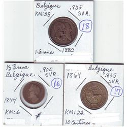 Belgium;  1844 ½ fr, 1864 10 centimos and 1880 1 fr.  Three coins F-VF.