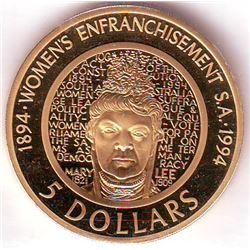 Australia: 5 dollars 1994, Centennial of Woman Enfranchisement, KM # 224a, Proof coin in Aluminum-Br
