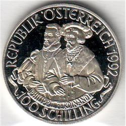 Austria: 100 Schillings 1992, 2 half-lengh figures, Karl V, KM # 3003. Proof coin containing 0.5209