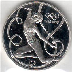 Austria: 200 Schillings 1995, Olympic Centenary, Ribbon Dancer, KM # 3026. Proof coin containing 0.9