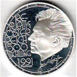 Austria: 500 Schillings 1991, Herbert Von Karajan, Building, KM # 3000. Proof coin containing 0.7125