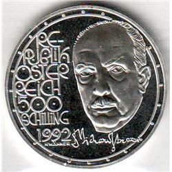 Austria: 500 Schillings 1992, Richard Strauss, KM # 3021. Proof coin containing 0.7125 oz ASW.