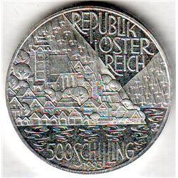 Austria: 500 Schillings 1993, Hallstatt and Lakes Region, KM # 3011. Proof coin containing 0.7125 oz
