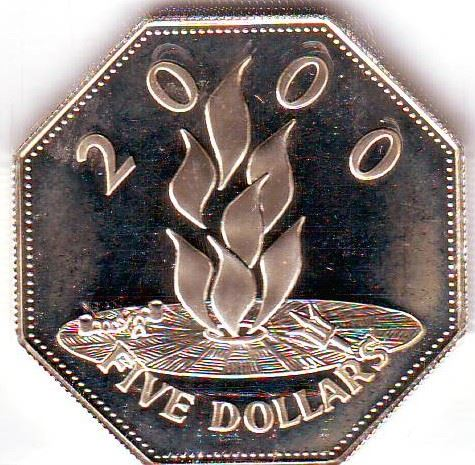Barbados: 5 dollars 2000, Millenium, KM # 67  Proof coin containing