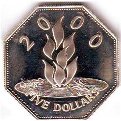 Barbados: 5 dollars 2000, Millenium, KM # 67. Proof coin containing 0.8357 oz ASW.