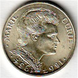France: 100 francs 1984, 50th Anniversary of the Death of Marie Curie, KM # 955. BU coin containing