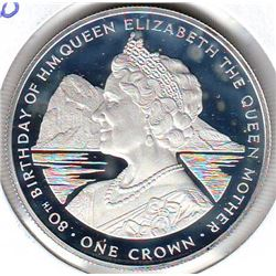 Gibraltar: 1 crown 1980, Queen Mother's 80th Birthday, KM # 11a. Proof coin containing 0.8355 oz ASW