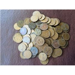 Great Britain: 1 penny and 1/2 penny coins lot, approximatyly 135 pcs.