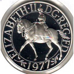 Great Britain: 25 new pence 1977, Queen's Silver Jubilee, KM # 920a. Proof coin containing 0.8355 oz
