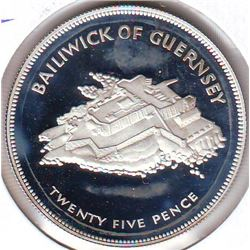 Guernsey; 25 pence 1977, Queen's Silver Jubilee, KM # 31a. Proof coin containing 0.8356 oz ASW.