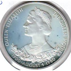 Guernsey; 25 pence 1960, Queen Mother's 80th Birthday, KM # 35a. Proof coin containing 0.8355 oz ASW
