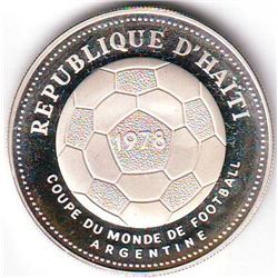 Haiti: 50 gourdes 1977, World Soccer Championship Game, arms, KM # 127. Proof coin containing 0.6294