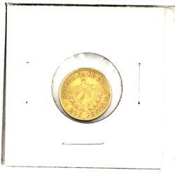 Cuba 2 Peso Gold (.900 Pure, 3.34 grams) Coin is in Extra Fine Condition.