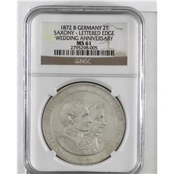 Germany 1872B silver 2 Thaler Saxony. Wedding Anniversary with lettered edge. NGC Certified MS61. (K