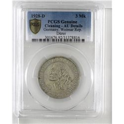 Germany 1928D Weimar 3 Mark PCGS AU Details, cleaned
