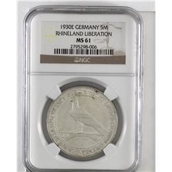 Germany 1930E Silver 5 Mark Rhineland Liberation NGC Certified MS61. (KM#71)
