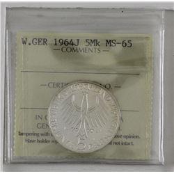Germany 1964J 5 marks ICCS MS65