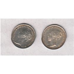 Great Britain 1841 and 1886  Maundy 1 Pence. Mint state condition