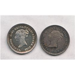 Great Britain 1846 and 1885  Maundy 2 Pence. AU to UNC condition.