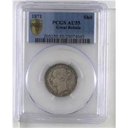 Great Britain 1871 Shilling PCGS AU55